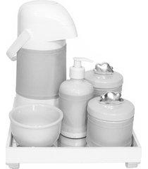 kit higiene espelho completo porcelanas, garrafa e capa nuvem prata quarto bebê unissex