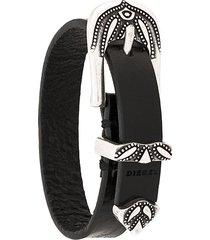 diesel western buckle bracelet - black