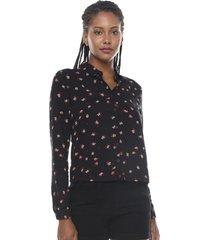 blusa manga larga print negro flores  corona