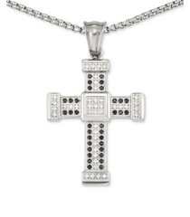 """legacy for men by simone i. smith men's crystal cross 24"""" pendant necklace in stainless steel"""