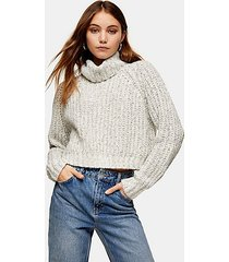 gray neppy cropped roll neck knitted sweater - grey marl