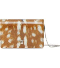 burberry deer print leather card case with detachable strap - brown