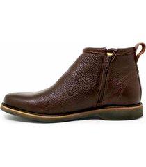 bota botina cano curto em couro zíper top franca shoes café