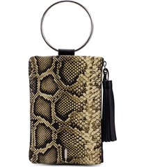 thacker nolita ring handle snake embossed leather clutch - beige