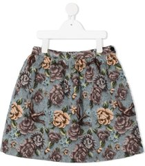 il gufo floral-print textured skirt - grey