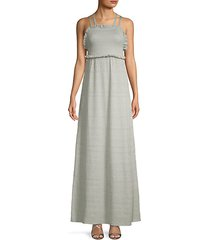 ruffled knit apron maxi dress