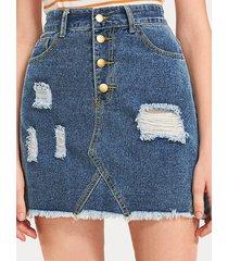 falda vaquera de cintura media rasgada con botones en la parte delantera