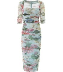 dolce & gabbana floral print tulle midi dress