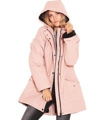 chaqueta wados impermeable m/l solid rosa - calce regular