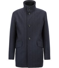 boss men's relaxed-fit herringbone car coat