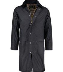 barbour lange jas rits en knopen donkerblauw