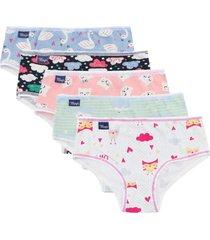 kit plus size 5 calcinhas infantis cotton kids