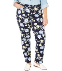 charter club plus size print straight-leg jeans, created for macy's