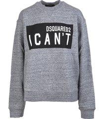 dsquared2 woman melange grey i cant cool sweatshirt