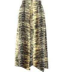 ganni printed satin skirt