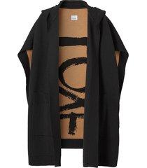 burberry love jacquard hooded cape - black