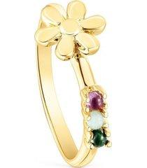 anillo fragile nature flor de plata vermeil y gemas dorado tous