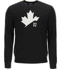 dsquared2 wool sweater d2 leaf intarsia