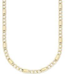 "men's fancy 3+1 figaro 22"" link necklace in 10k yellow gold"