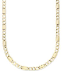 "men's fancy 3+1 figaro 22"" link necklace in 10k yellow gold"