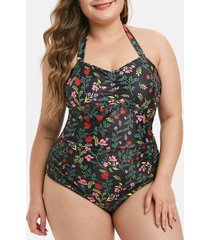 halter plant print ruched plus size one-piece swimsuit