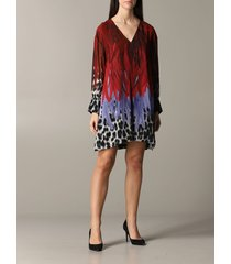 just cavalli dress just cavalli dress with animal print and feathers