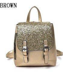 mochilas/ mochila de plata de la manera femenina-marrón