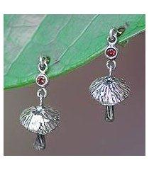 amethyst floral earrings, 'royal mushrooms' (indonesia)