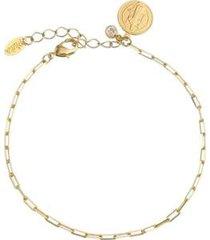 pulseira piuka pingente são bento folheado ouro feminina - feminino