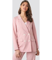 na-kd classic pinstriped double breasted blazer - pink