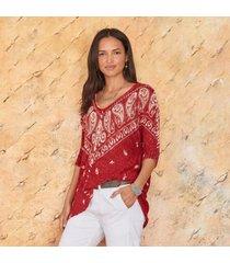 sundance catalog women's cottonwood pullover - petites in brick petite small