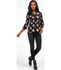 laura-lee floral babydoll blouse - black
