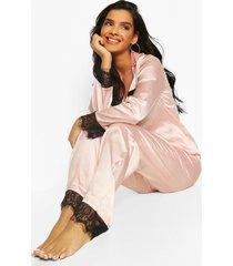 mix & match satijnen pyjama broek met kanten zoom, rose gold