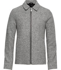 boiled wool zip through jacket stickad tröja cardigan grå junk de luxe