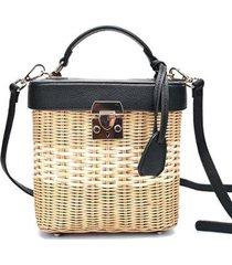 bolsa de palha em vime, formato quadrado com couro pu feminina