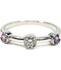chanel 18k diamond and sapphire ring silver, pink sz: