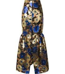 alice mccall night light metallic floral-print skirt - gold