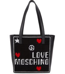 love moschino women's embroidered tote - black