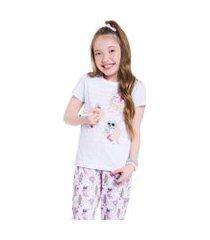 pijama manga curta c/ calça feminino - para colorir veggi