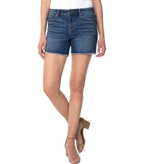 women's liverpool los angeles vickie frayed hem denim shorts, size 4 - blue