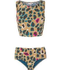brigitte leopard-print bikini - brown