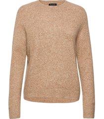 5210 - marta round neck stickad tröja brun sand