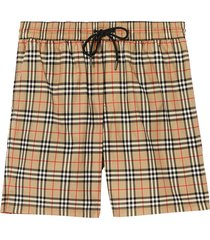 burberry small scale check drawcord swim shorts - neutrals