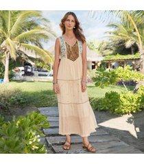 sundance catalog women's bronzed beauty dress in vanilla medium