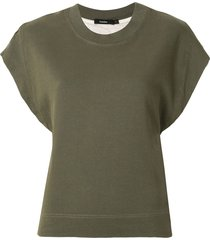 bassike wide tapered french terry tank - green