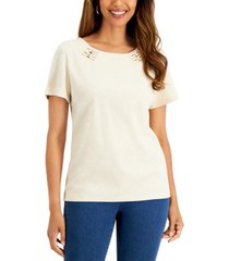 karen scott petite cotton embellished knit top, created for macy's