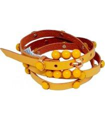 cinto teodoras couro pedras colorido amarelo - amarelo - feminino - dafiti