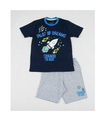 pijama infantil foguete manga curta azul marinho