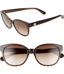 women's kate spade new york emaleigh 55mm cat eye sunglasses - brown