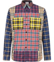 burberry tindall tartan-patchwork cotton shirt